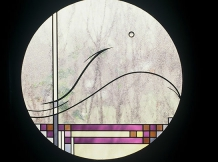 """""""Fujas Outhouse"""" - leaded glass - 32"""" diameter"""